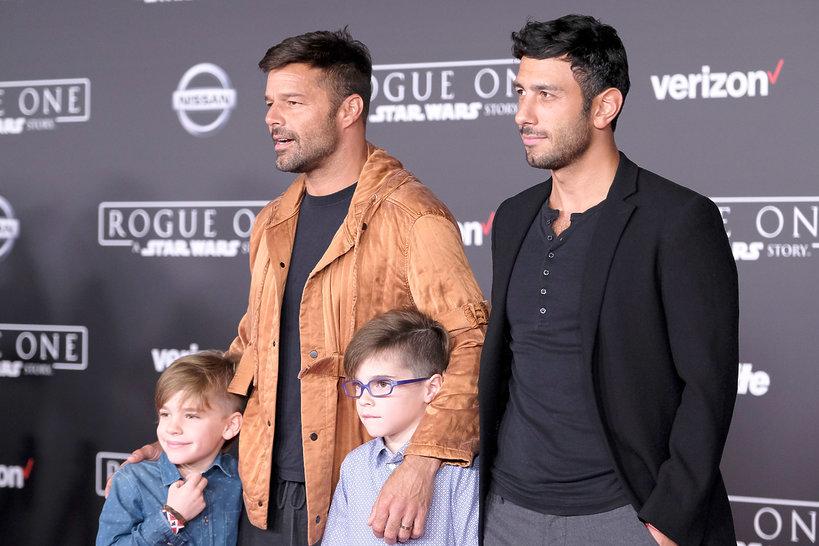 Ricky Martin z synami, Matteo Martin, Valentino Martin, Jwan Yosef partner