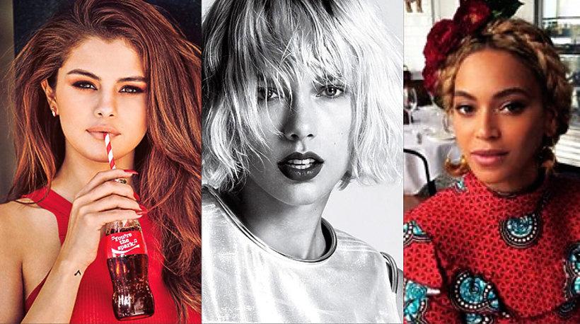 Selena Gomez, Taylor Swift, Ariana Grande, Beyonce, Instagram