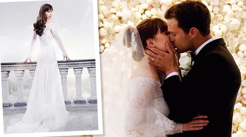 Suknia ślubna Dakota, suknia ślubna Anastasii Grey, 50 twarzy Greya, Dakota Johnson, Jamie Dornan