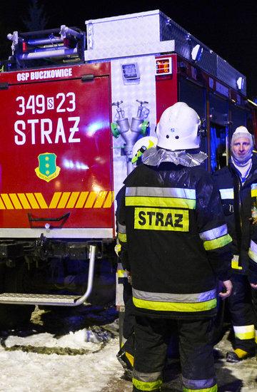 Szczyrk, 4.12.2019, zawalił się trzykondygnacyjny budynek przy Leszczynowej, strażak, straż pożarna