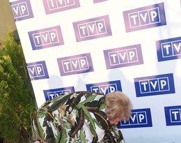 Teresa Lipowska przewróciła się na ramówce TVP