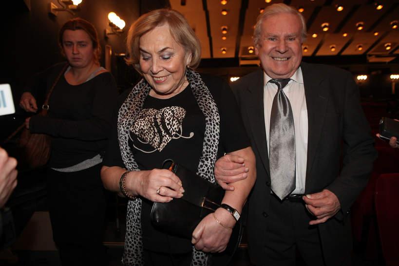 Wiesław Gołas z żoną, Benefis z okazji 55-lecia pracy artystycznej Jana Kobuszewskiego, 2.12.2011, Warszawa