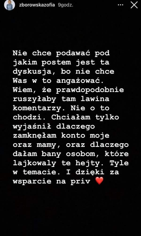 Zofia Zborowska na Instagramie