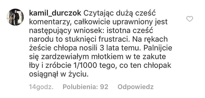 Komentarz Kamila Durczoka pod zdjęciem Lewandowskiego