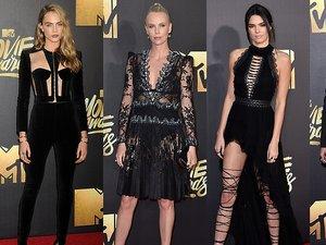 Cara Delevingne, Charlize Theron, Kendall Jenner, Gigi Hadid w czarnych eleganckich stylizacjach