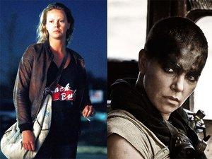 """Charlize Theron w filmach """"Monster"""" (2003), """"Mad Max"""" (2015) i na premierze """"Mad Max"""" w Nowym Jorku"""