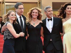 Jodie Foster, Julia Roberts, George Clooney i Amal Clooney na czerwonym dywanie festiwalu w Cannes