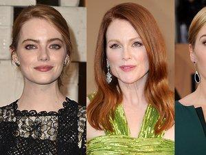 Emma stone, Julianne Moore, Kate Winslet w różowym makijażu