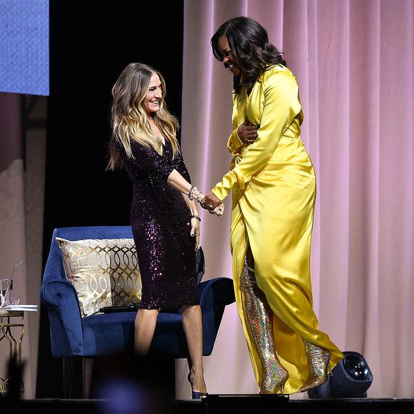 Michelle Obama w butach Balenciagi - błyszczące kozaki