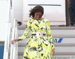 Michelle Obama w sukience w kolorowe printy