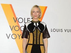 Oryginalna stylizacja Cate Blanchett z wyrazistą sukienką Louis Vuitton