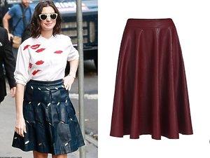 Anne Hathaway, skórzane spódnice kolorowe