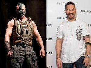 """Tom Hardy jako Bane w filmie """"Mroczny rycerz powstaje"""" (2012) i na premierze filmu """"Zjawa"""" (2015) w Londynie"""