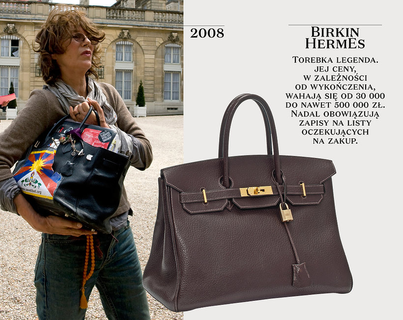 Jane Birkin z torebką Birkin Hermes