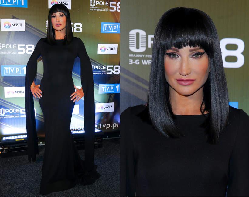 Justyna Steczkowska w Opolu 2021 czarna suknia jak z adamsow