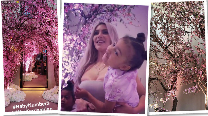 Kim Kardashian zorganizowała baby shower dla córki - Tea for Three z drzewkami wiśni cherry blossom