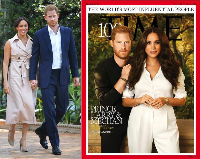 Książę Harry i ksieżna Meghan na okladce Time 2021 wplywowa para