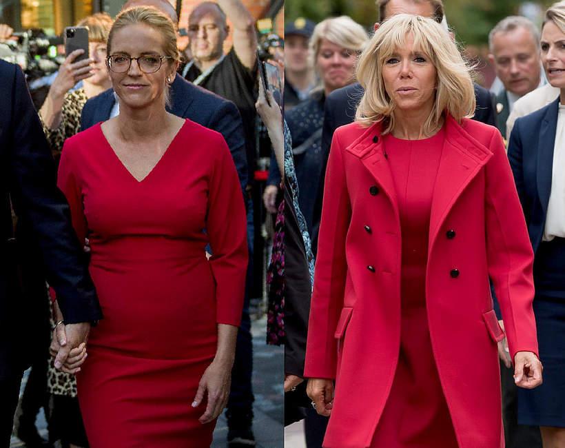 malgorzata-trzaskowska-brigitte-macron-w-czerwonych-sukienkach