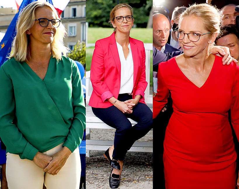 malgorzata-trzaskowska-styl-ubierania-stroj-marynarka-rozowa-spodnie-czarne-sukienka-zielona-bluzka-pierwsza-dama
