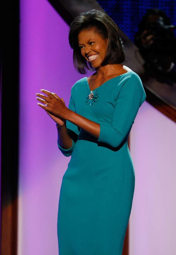 michelle-obama-styl-zielona-sukienka-szyk