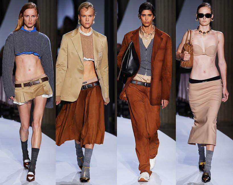 Pokaz mody Miu Miu na sezon wiosna lato 2022 trendy kolekcje z wybiegu fashion week sylwetki looki 1