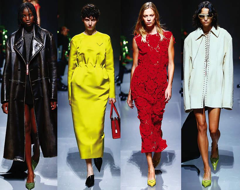 Pokazy mody na sezon wiosna lato 2022 kolekcje trendy na wiosne 2022 moda pokaz Prada sylwetki kolory