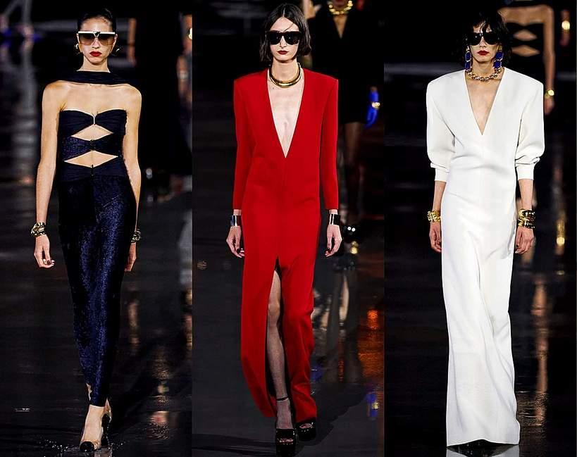 Pokazy mody wiosna lato 2022 kolekcje trendy moda Saint Laurent sylwetki z pokazu