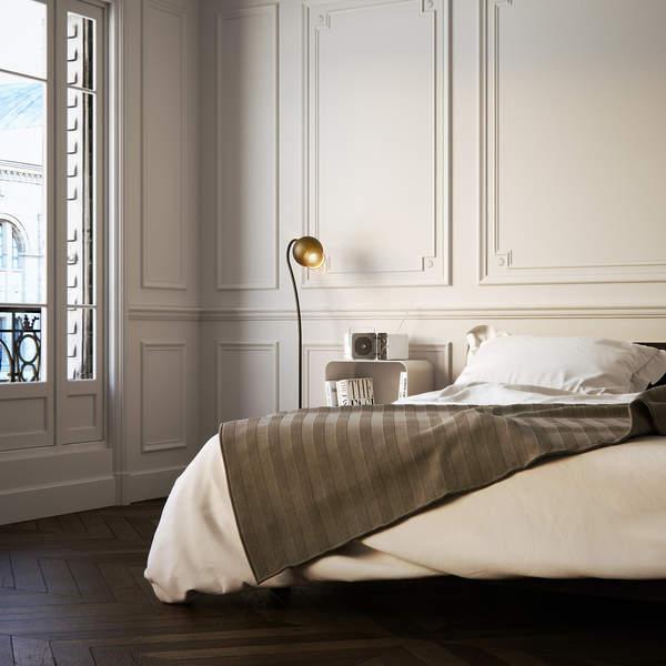 sypialnia w stylu Kasi Tusk paryski szyk sztukaterie biale sciany lozko