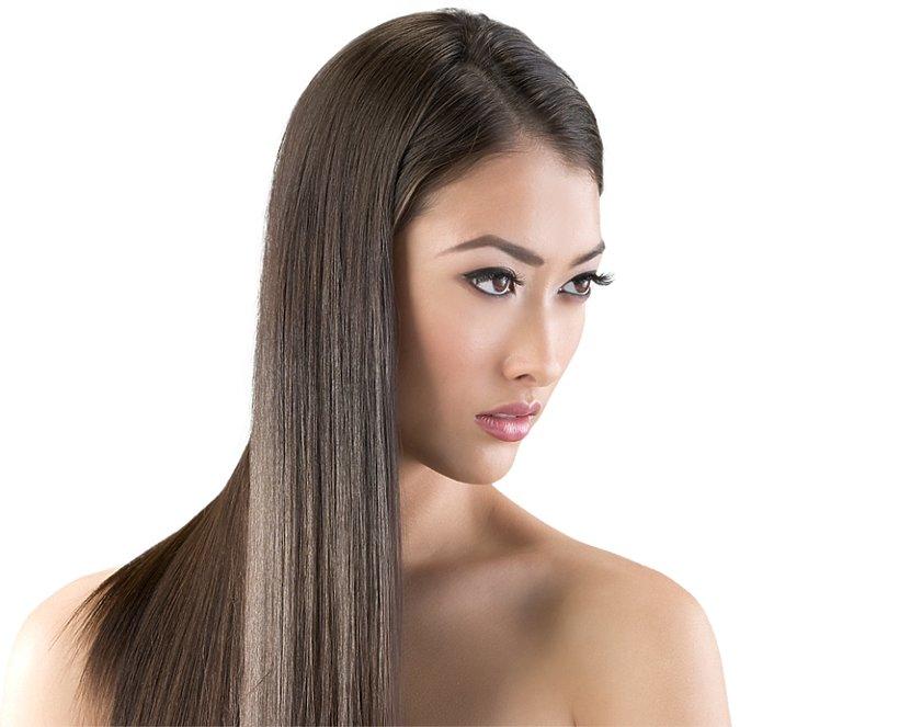 azjatycka kobieta ze zdrowymi, lśniącymi włosami