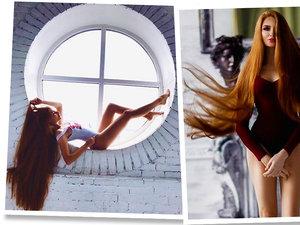 Dziewczyna o bardzo długich rudych włosach
