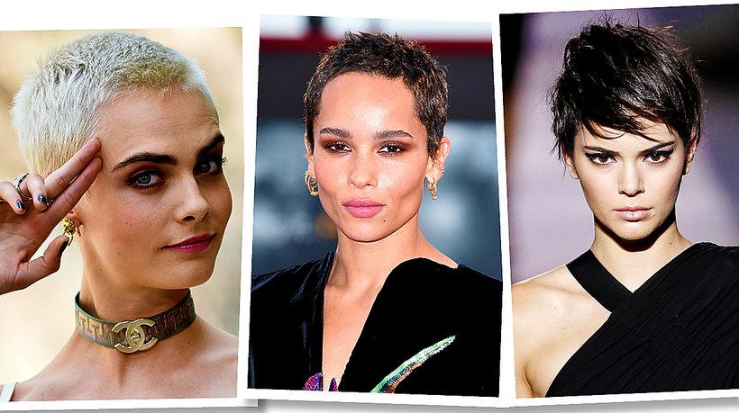 Cara Delevigne, Zoe Kravitz, Kendall Jenner i Kristen Stewart w krótkich włosach