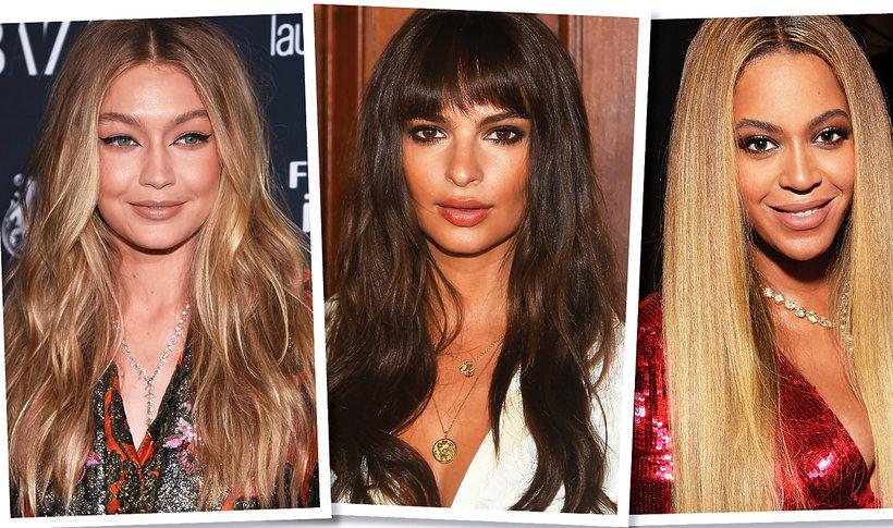 Gigi Hadid w rozpuszczonych włosach, Emily Ratajkowski w długich włosach i z grzywką, Beyonce w długich, wyprostowanych włosach