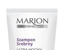 Szamon do włosów rozjaśnianych Srerny Ultar mocny, Marion w białej butelce z fioletowym napisem