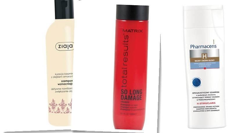 Szampon Ziaja w beżowym odcieniu, szampon Matrix w czerwinym opakowaniu, szampon Pharmaceris w białym opakowaniu