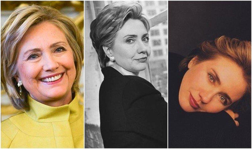 Hillary Clinton na trzech zdjęciach z różnego czasu