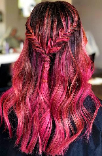 kolorowe ombre włosy