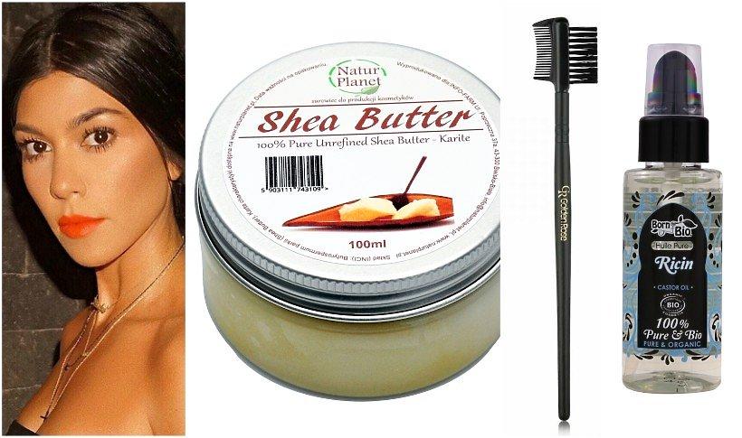 Kourtney Kardashian i kosmetyki do pielęgnacji rzęs: masło shea, szczoteczka do brwi i olej rycynowy
