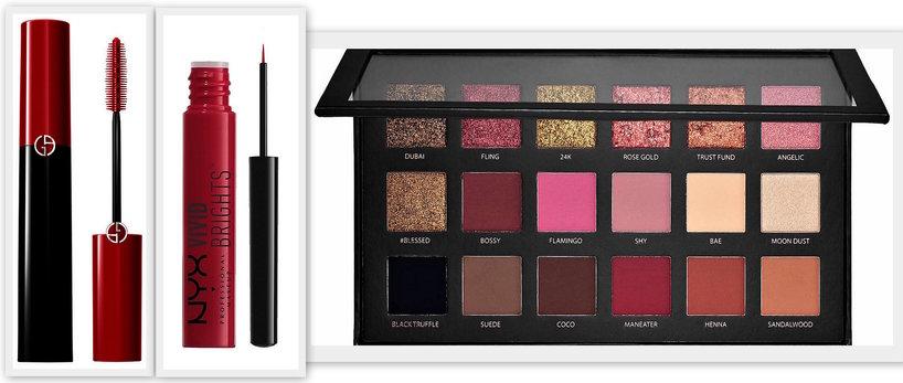 trend: 5 sposobów na czerwień w makijażu paleta huda beauty rose gold, czerony tusz armani czerowny eyeliner nyx