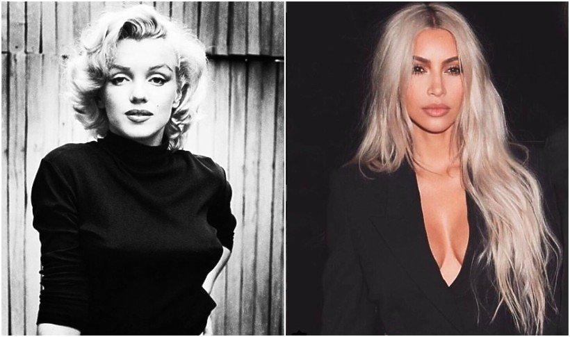 Marylin Monroe w czarnym golfie i Kim Kardashian w długich blond włosach