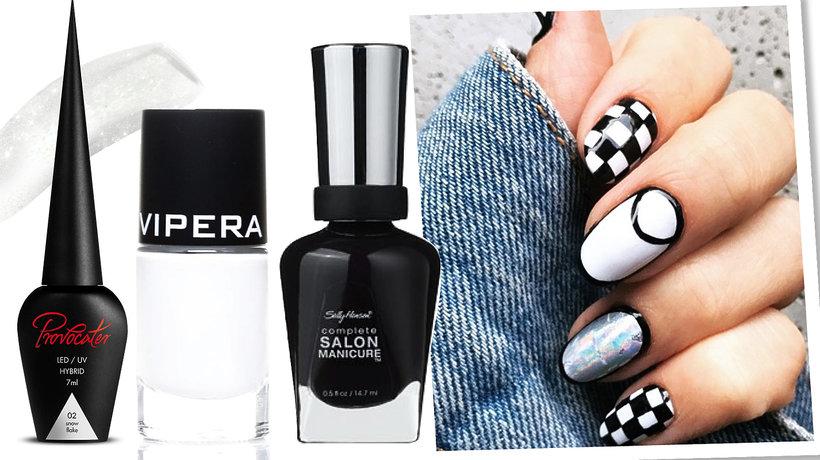 Białe i czarne lakiery do paznokci, manicure w czarno-białe wzorki