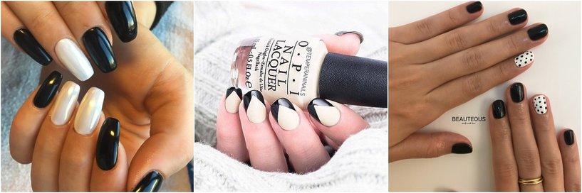 Czarno-biały manicure