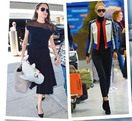 Angelina Jolie i Gigi Hadid na lotnisku