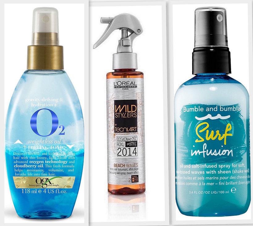 kosmetyki do stosowanie cały rok Spray z solą morską, rozświetlacz, krem z filtrem