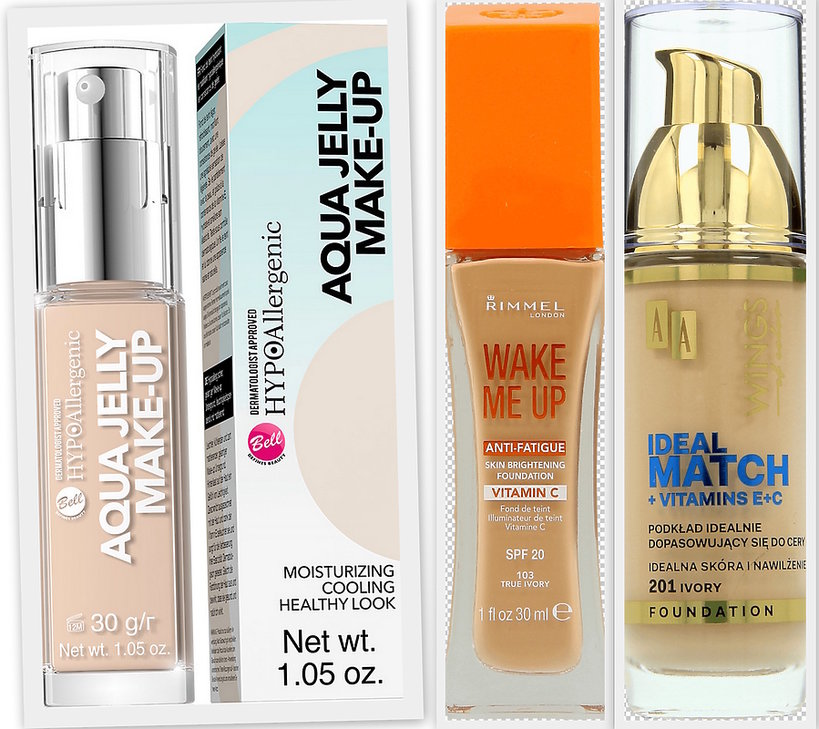 Wake Me Up SPF 20 RIMMEL (46,99 zł), Ideal Match + Vitamins E+C AA Wings of Color (33,99 zł)