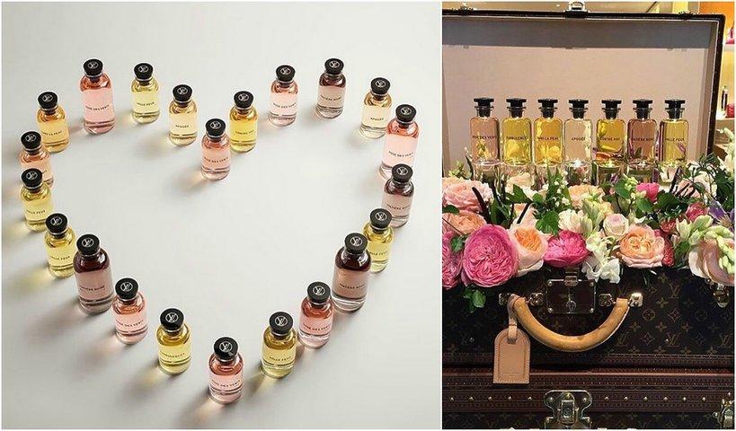 Serce z perfum Louis Vuitton i pefumy w walizce