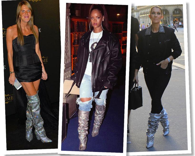 Anna Dello Russo, Rihanna, Celine Dion w wysokich butach, gorący trend na jesień i zimę