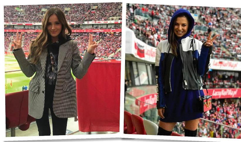 Anna Lewandowska i Marina Łuczenko-Szczęsna na meczu Polska - Czarnogóra