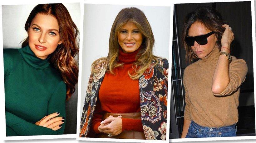 Anna Lewandowska, Melania Trump, Victoria Beckham noszą kolorowe golfy