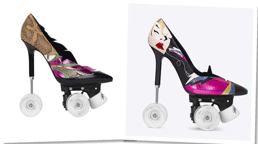 Buty szpilki z wrotkami domu mody Saint Laurent