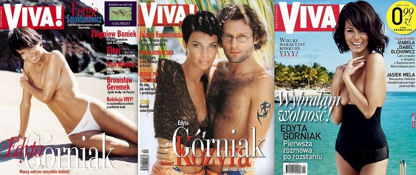 "Edyta Górniak okładki ""Viva!"" 1998, 1999, 2009"